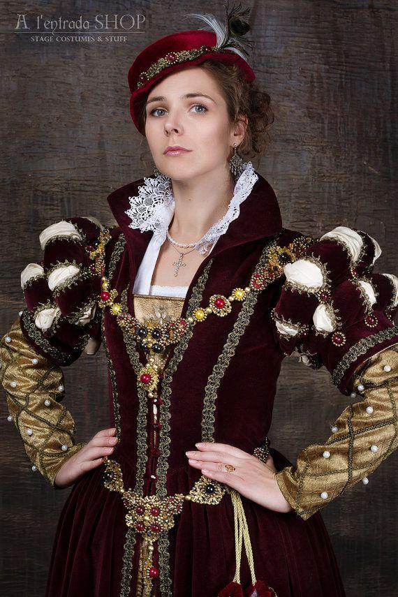 Renaissance robe Mary Stuart 16ème siècle anglais par AlentradaSHOP