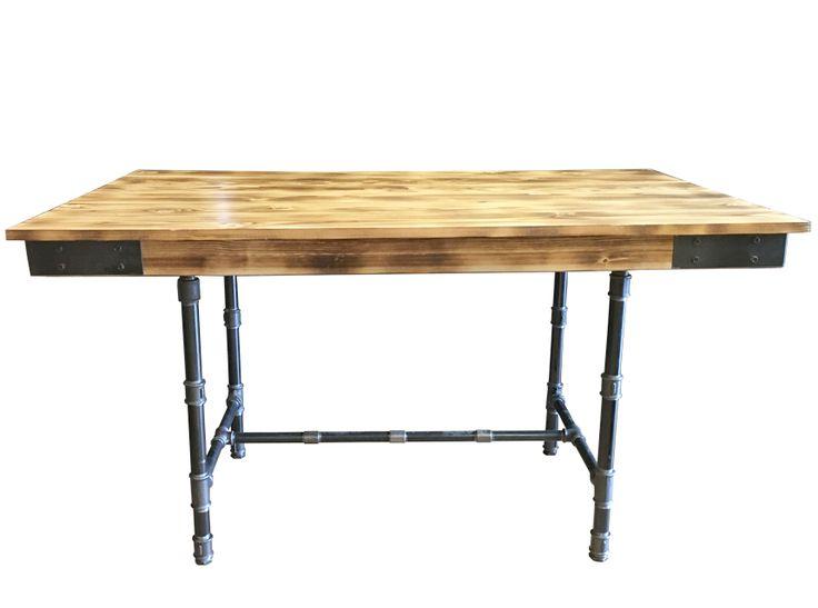 Ξύλινο Τραπέζι Insutrial - Χειροποίητο - Ξύλο - Μέταλλικά πόδια  Retro Dinning table - handmade - wood and steel - vintage colours - Lampadari