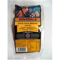 Dovedale Rice Chia Bread 640g ( Ingredients: White rice flour, brown rice flour, chia (12%), filtered water, guar gum (412), sea salt.)