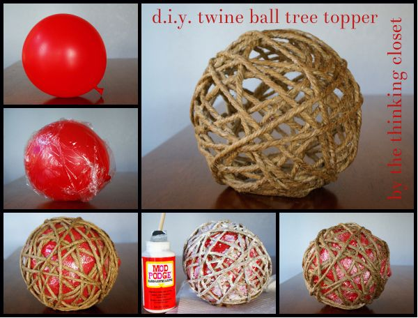 D.I.Y. Twine Ball Tree Topper by The Thinking Closet....use as kid-friendly coffee table decor!