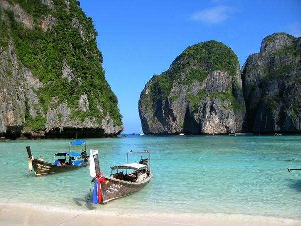 Phi Phi Island, Phuket, Thailand. Hottest, most humid place ever. But stunning.