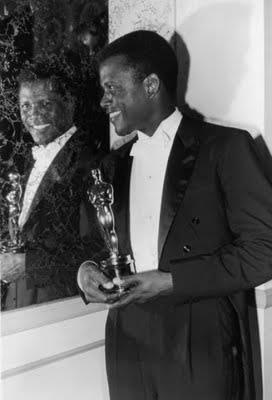 "Sidney Poitier in 1964 winning the academy award for ""best actor"" for Lillies of the Field"