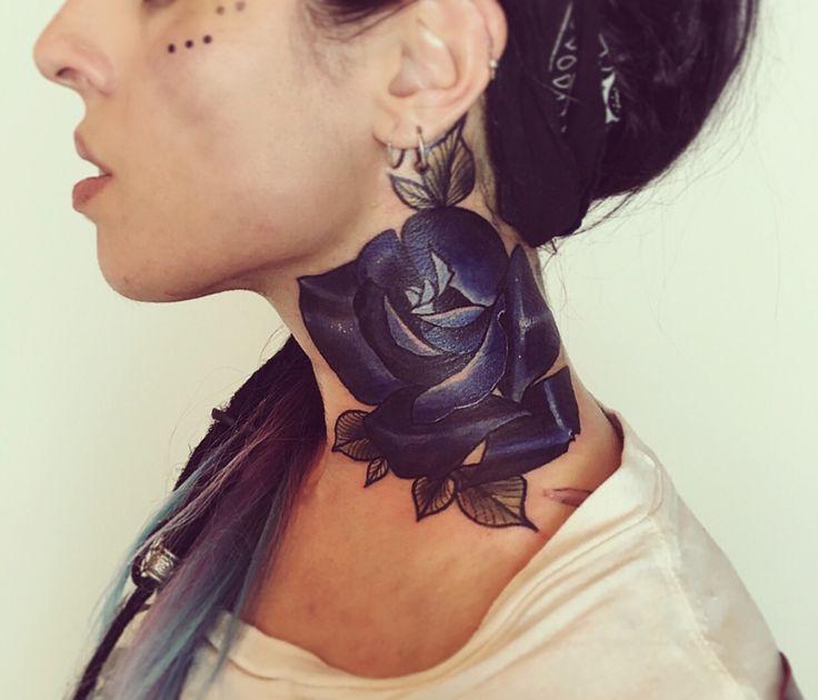 My new dark galaxy rose neck tattoo.
