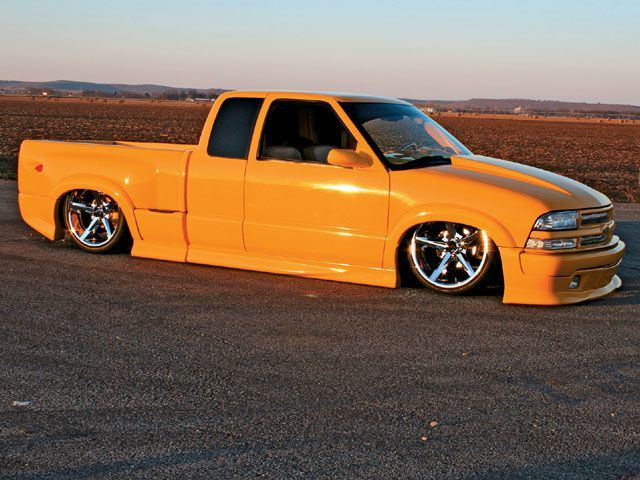 2003 Chevy S-10 Xtreme - Extended Cab - Stepside - Orange w/Rims & Bagged