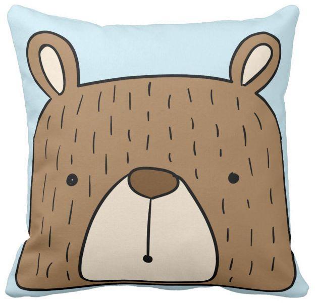 Poszewka dziecięca miś niedźwiadek na niebieskim pod-3095 | poduszki i poszewki ozdobne na ArtMini.pl