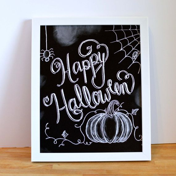 Happy Halloween Sign - Halloween Chalkboard - Chalk Art - Halloween Decor - Halloween Print