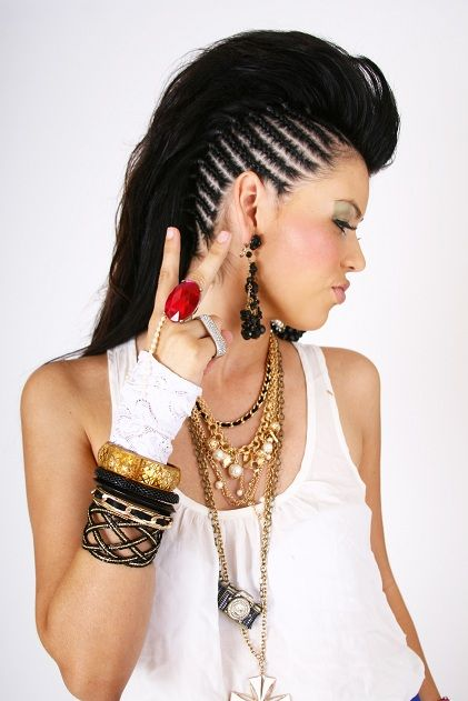 Long hair mohawk with side braids-- :o I wish I had the skills! (and guts, lol)