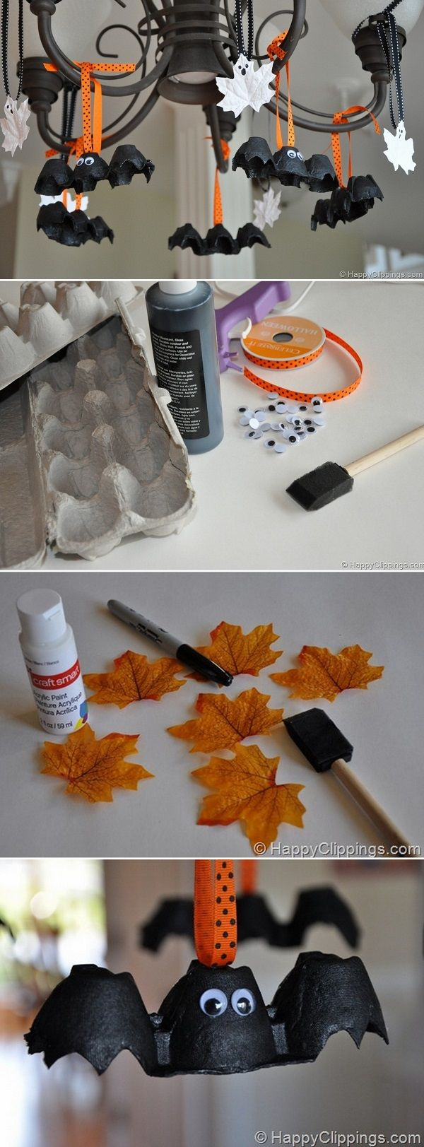 Check out the tutorial on how to make DIY egg cartoon bats and leaf ghosts for Halloween home decoration @istandarddesign