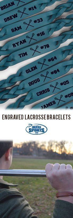Think of how cool the team will look in these custom leather bracelets for lax! They make a great team end-of-year gift