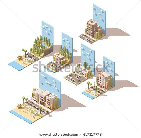 Vector Isometric icon set or infographic elements representing car travel and adventures related illustrations. Car leaving home; camper travel; beach, mountain and forest travels, hotel, car repair