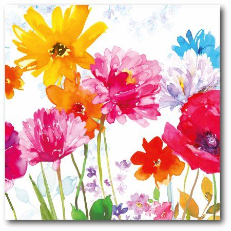 Bright Colored Flowers I Canvas Wall Art Flower Painting Watercolor Flowers Paintings Floral Watercolor