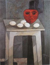 RED MASK AND EGGS ON STOOL by Felice Casorati, 1949