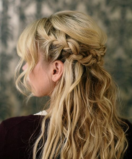 Messy half up French braid hair for wedding day   50 Elegant Half Up French Braid Hairstyles