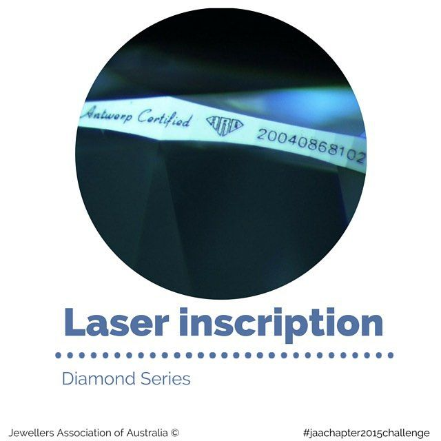 Diamonds can be microscopically laser inscribed with the certificate/report number. In addition to the report helping to identify the stone, a laser inscription is a form of security, like a serial number.  Laser inscriptions are etched onto the stone's girdle and do not damage the diamond or alter the colour or clarity in any way.  Laser inscriptions cannot be seen with the naked eye and require a small magnifying glass, known as a loupe, to see it.  Read more at jaa.com.au
