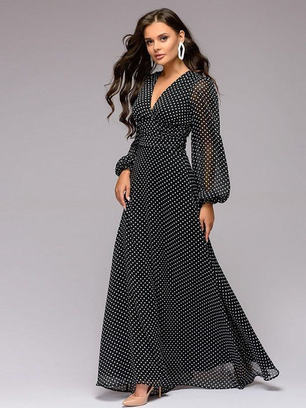 8819cb70abc RGBF1 Get 25% OFF Discount! 2019 Women s Dress Polka Dot Print V-neck Long  Sleeve Chiffon ...