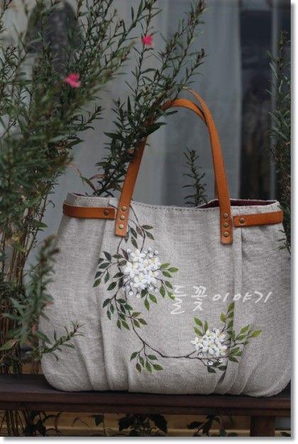 프랑스 린넨으로 엉겅퀴 가방, 야생화 가방에 이어서프랑스 린넨 가방 3탄 이에요~~~ 야생화 가방이 조금 ...