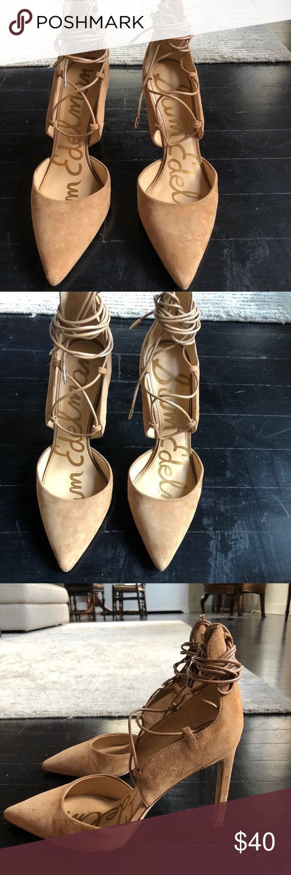 Sam Edelman lace up suede camel heels Only worn once! All suede tan lace up heel, can be wrapped around foot or ankle in various ways. Sam Edelman Shoes Heels