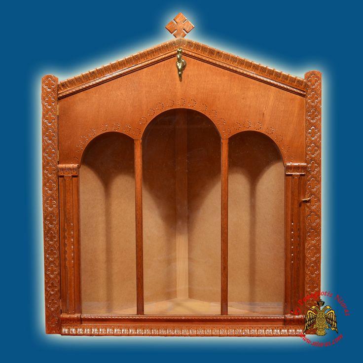 Eikonostasi Icon Wooden Case Corner with Columns