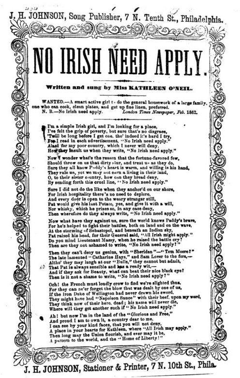 irish slavery   No Irish Need Apply A History of The Irish in America, Circa 1850