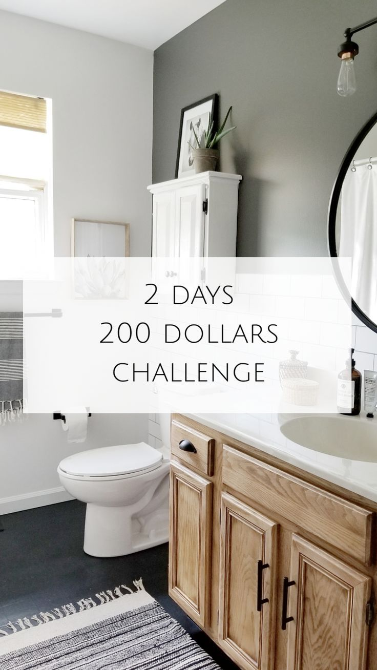 My 2 Days 200 Dollars Challenge Budget Bathroom Remodel Diy Bathroom Makeover Bathroom Renovation Diy