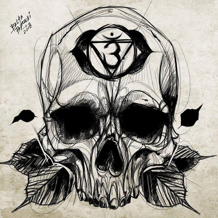 Skull tattoo, tatuagem de caveira sketch