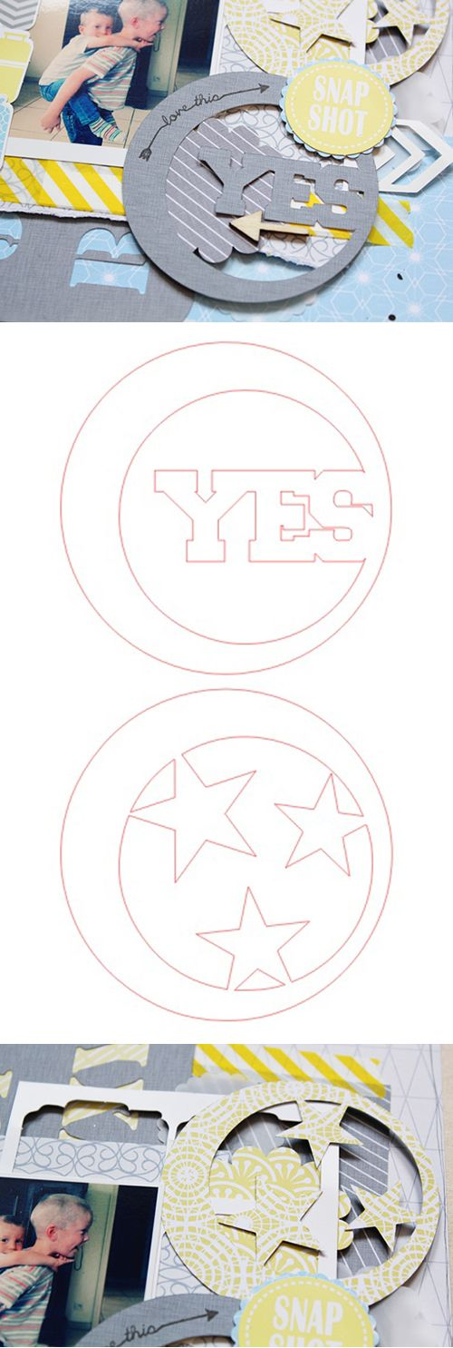 Free ' Yes & Stars Circles' cutting file, by Lilith Eeckels: lilithandscrap.bl... #Silhouette #CutFile
