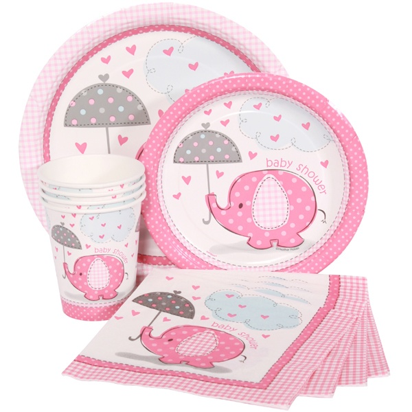 Pink elephants themed baby shower supplies