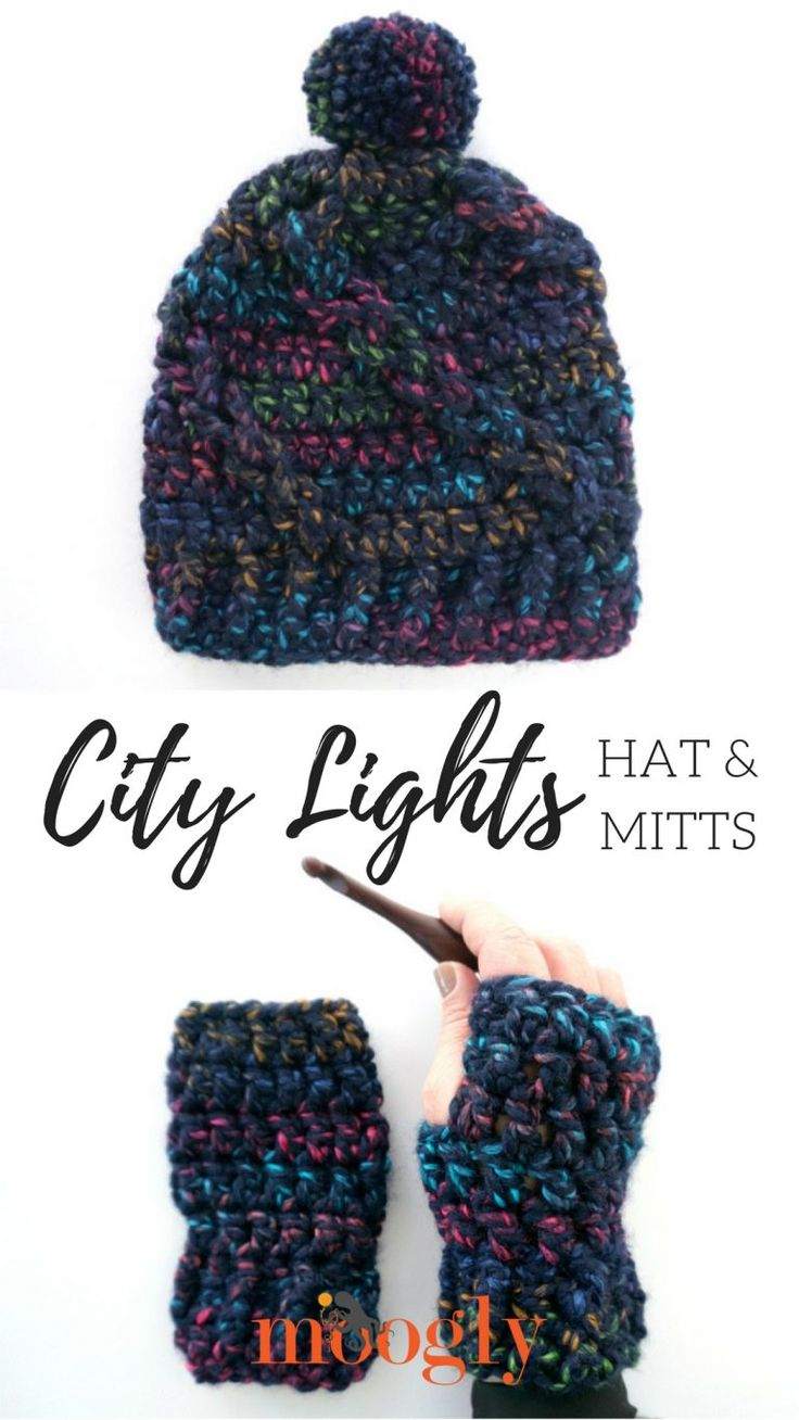 City Lights Hat and Mitts - Free Crochet Pattern Set on Mooglyblog.com - make both with just one ball of yarn!