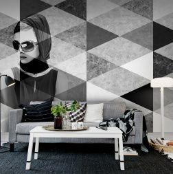 Een modern patroon van marmer blokken in combinatie met de chique Parijse dame, uniek voor elke ruimte!
