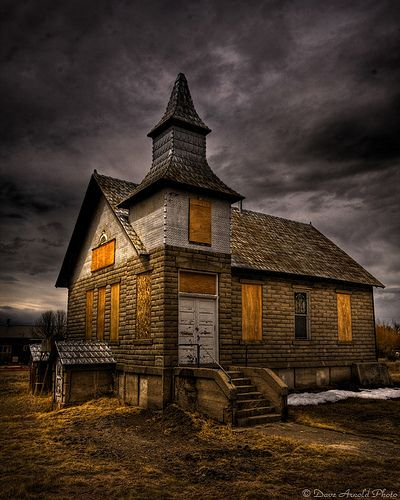 Abandoned church in Colorado   *the grey sky as a backdrop for the church makes this eerily beautiful*