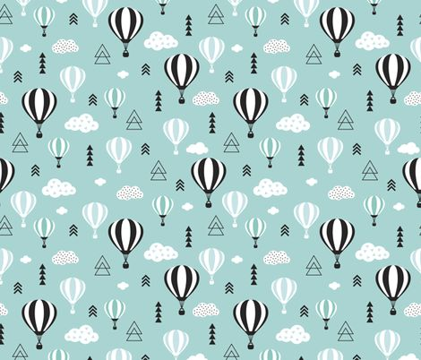 Scandinavian pastels and black and white hot air balloons and geometric clouds sky illustration pattern blue fabric by littlesmilemakers on Spoonflower - custom fabric