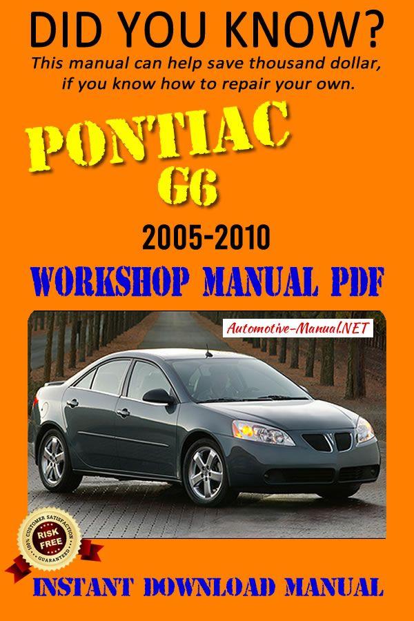 Download Pontiac G6 2005 2010 Workshop Manual Pdf Pontiac Pontiac Cars Manual
