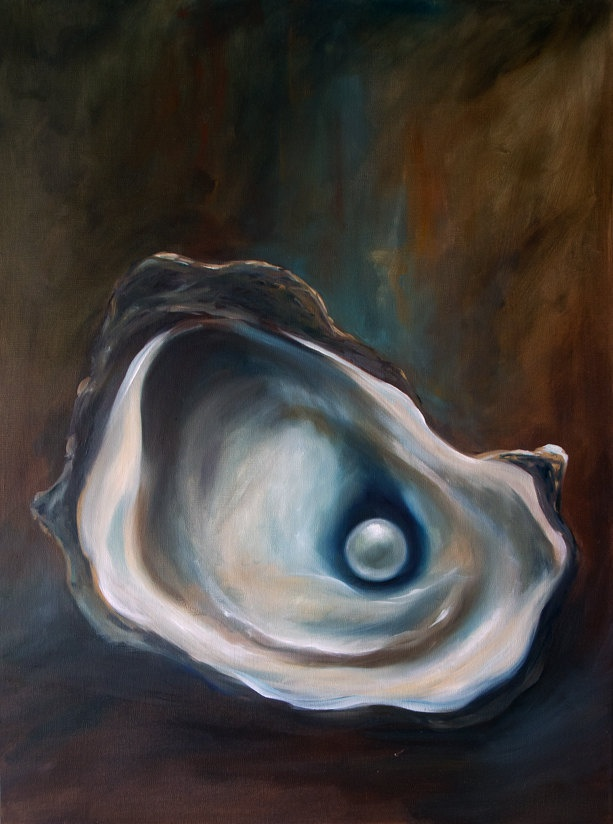 """Repin if you like! Wedding gifts, home gifts, fine art , gift ideas, beach art, food art, interior design, home decor Visit www.hangingthemoon.com for more information on original artwork. Original """"Hidden Treasure""""  Oil Painting Still LIfe Oyster Pearl. $350.00 https://www.etsy.com/listing/101225828/original-hidden-treasure-oil-painting"""