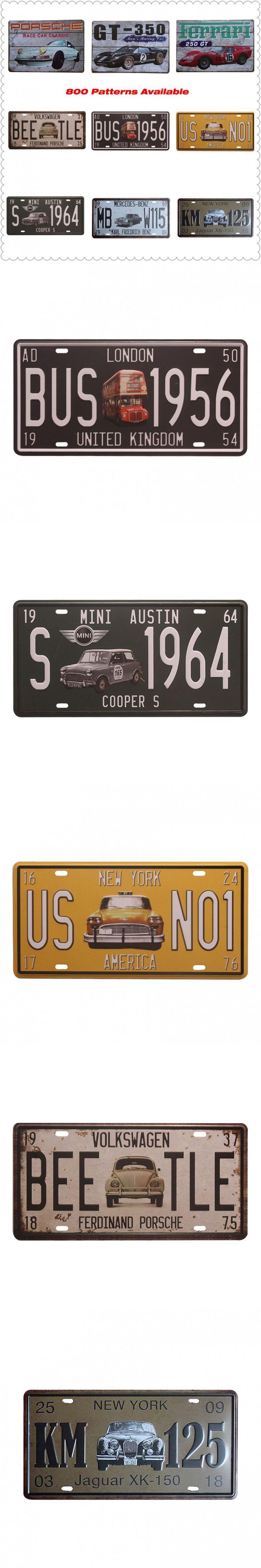 Shbby Chic Car Plate Vintage Metal Signs Home Decor Vintage Tin Signs Pub Vintage Decorative Plates Metal Wall Art $4.96