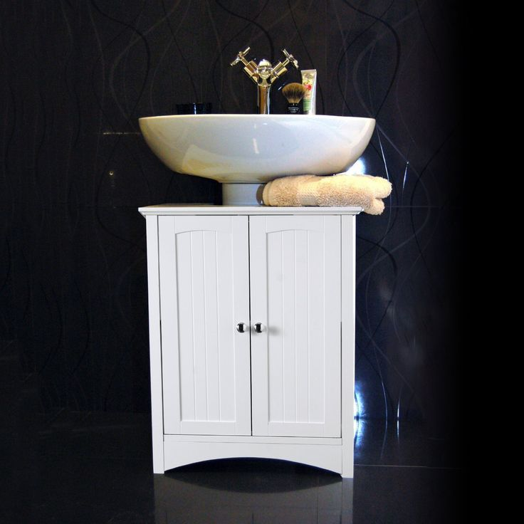 White Under Sink Bathroom Storage Cabinet Amazon Co Uk Kitchen Home