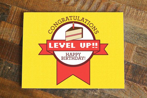 Gamer Birthday Card, Level Up Funny birthday, nerdy birthday card, video games card, geeky birthday card, cake birthday card, happy birthday