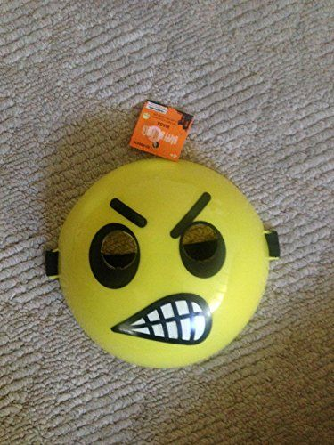 angry emoji mask, easy to put on. 1 size fits all For kids and adults