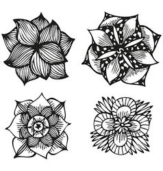 Floral doodling flowers set in tattoo style only black contour. Download a Free Preview or High Quality Adobe Illustrator Ai, EPS, PDF and High Resolution JPEG versions.
