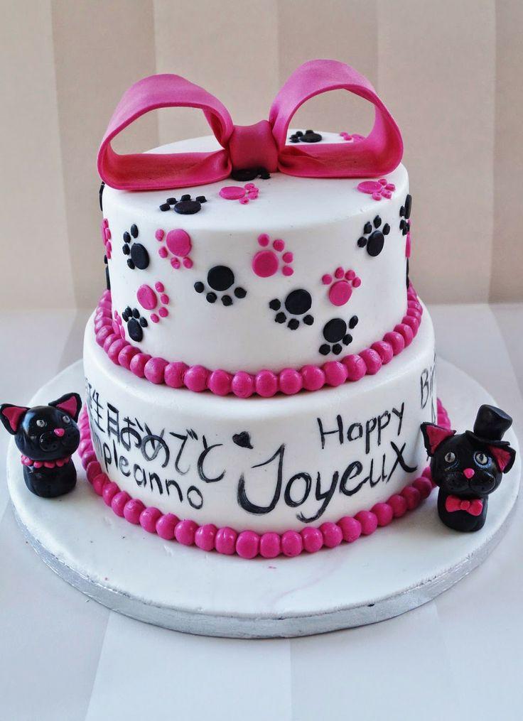 Cake Design Italia Facebook : Cake design modealge chat noeud rose ecriture sur gateau ...