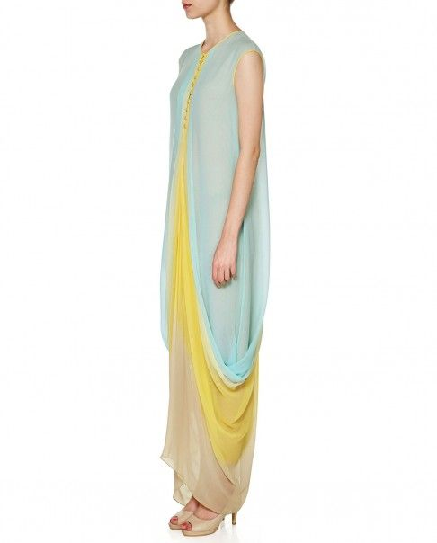 Aqua blue, lemon yellow and beige drape style sleeveless dress. Flowy drapes adorn the sides. V neckline with button detailing. Fully lined. Wash Care: Dry clean only
