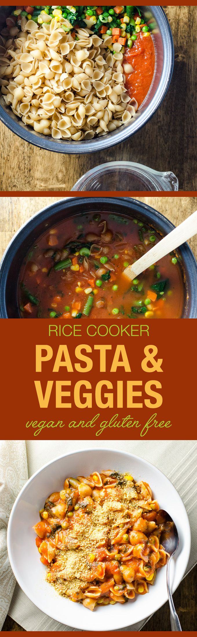 Rice Cooker Pasta with Veggies - an easy main meal with simple vegan and gluten free ingredients   VeggiePrimer.com