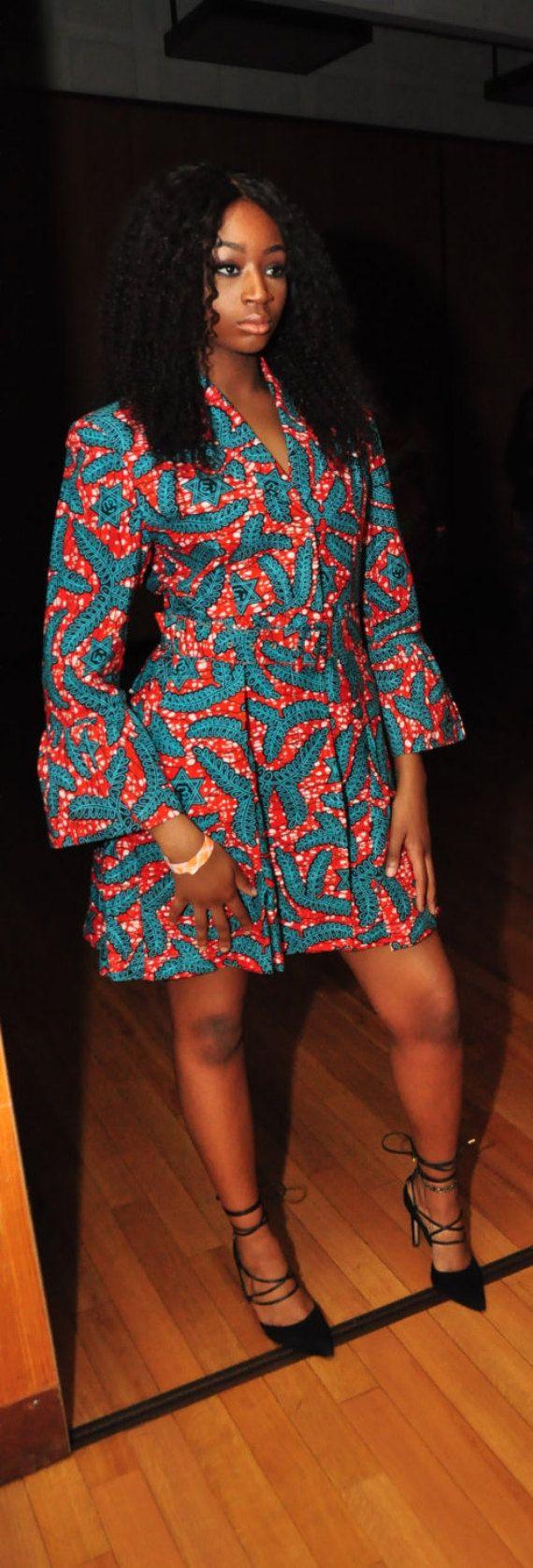 Lente Blazer jurk Afrikaanse kleding Ankara jas door JuanJayzzDesign