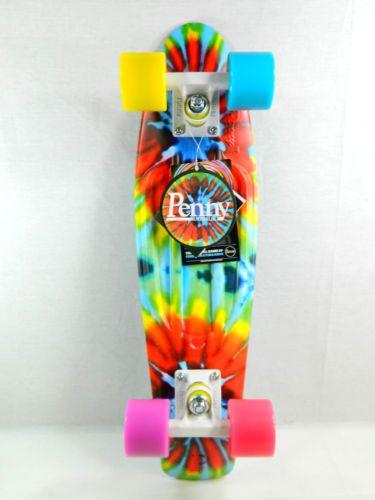 "Penny Board Tie Dye 22"" x 6"" Plastic Mini Cruiser Skateboard Banana Board | eBay"