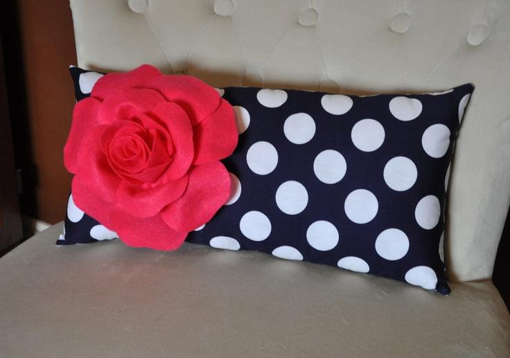 Navy And Pink Decorative Pillows: Decorative Hot Pink Rose On Navy White Polka Dot Lumbar