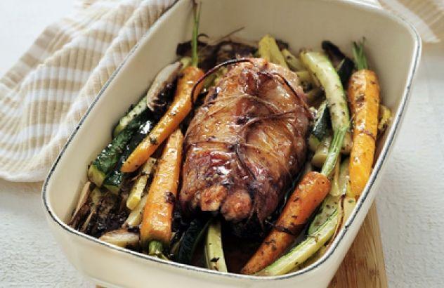 Gebraden konijnenrug met gegrilde groenten