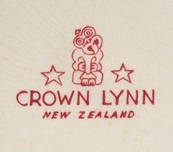 Marks from New Zealand ceramics manufacturer Crown Lynn. Photos from NZ Pottery Forum and Collectiques.