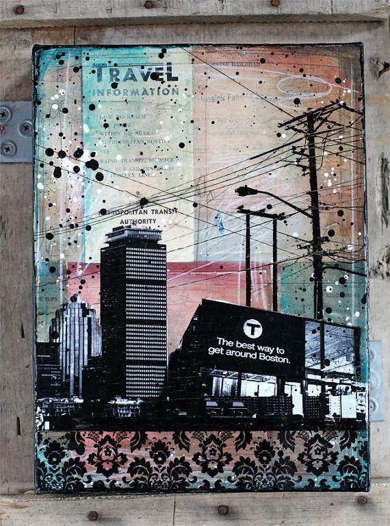 "Local Boston No. 3 - 9"" x 12"" original Boston skyline mixed media collage painting on canvas"