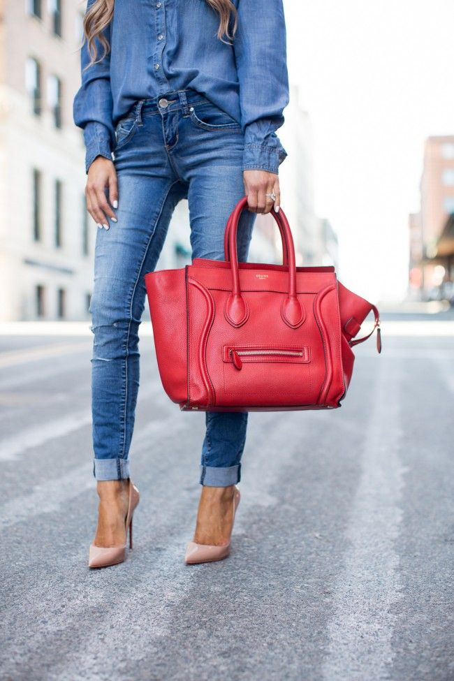 MARCH 7TH, 2016 BY MARIA The Most Flattering Jeans With YMI Jeans - YMI Jeans Chambray Top // YMI Wannabettabutt Jeans // Christian Louboutin 'So Kate' Heels // Celine Red Luggage Bag // Le Specs Gold Aviator Sunglasses