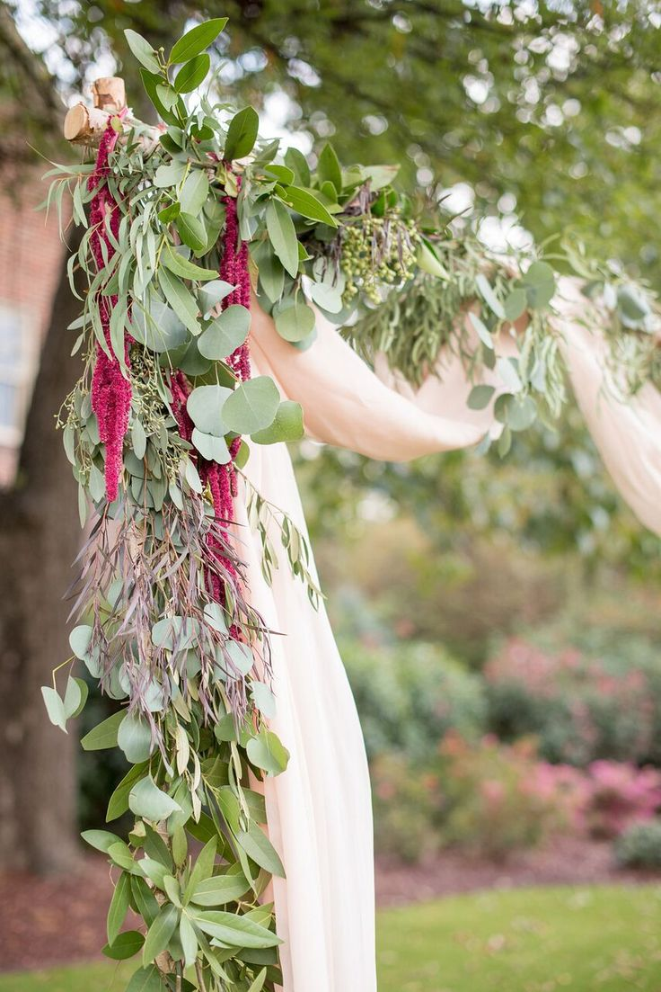 Autumn Colored Wedding in North Carolina- greenery altar- ceremony style and details