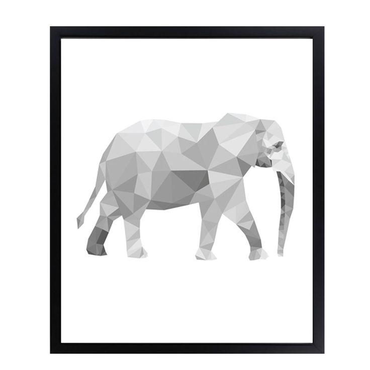 Poster - Geometrische Olifant in Grijs Zwart en Wit van DesignClaud | Markita.nl